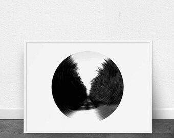 Black and White Photography, Circle Art, Abstract Print, Contemporary Printable Art, Forest and Path, Abstract Wings, Modern Printable Art,