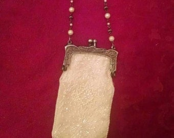 Beautiful Delicate Vintage Beaded Purse with Beaded Chain, Flapper, White Evening Bag
