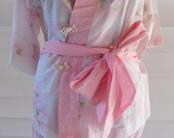 Vintage Lingerie Lounging Pajamas Kimono Pink Cotton Floral Schrank's