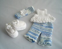 Crochet Dolls Clothes / Hand Crocheted Summer Crop Leggings and SunTop Outfit / Dress Up Dolls Clothes /  18inch Doll Clothes.