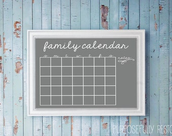 Family planning calendar. Gray Script with room for notes. Plan your month. Dry erase. Customizable to match your decor!
