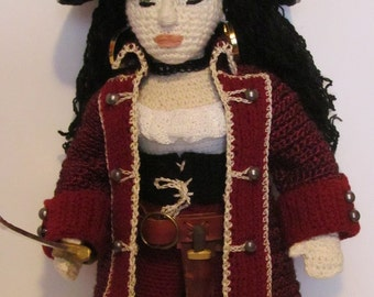 OOAK Crocheted Lady Piratess Doll With Weapons