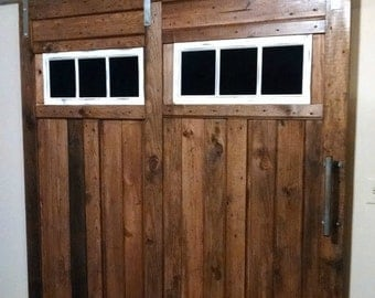 Double t strap sliding barn door hardware for 2 doors w track for Dual track barn door hardware