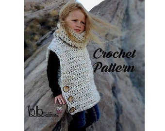 Vasquez Pullover Vest - PATTERN ONLY - Crochet - Sizes: toddler, child, and adult