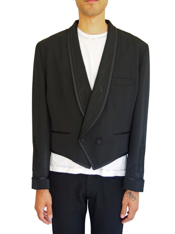Matsuda cropped black embroidered tuxedo jacket by