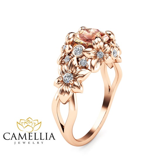 Floral Design Morganite Engagement Ring 14K Rose Gold Flower