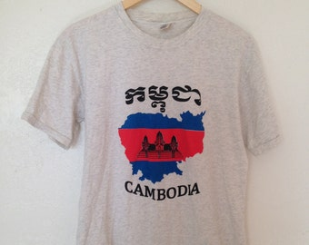 vintage cambodia shirt / gray graphic tee / soft / m