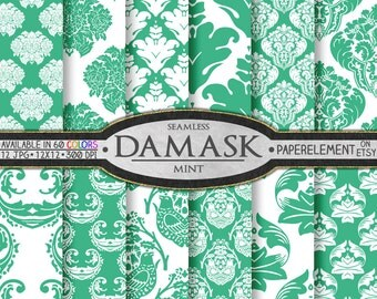 Mint Damask Instant Download - Spearmint Damask Pages with Complex Patterns - Traditional Damask Graphics on Mint Paper