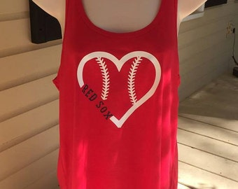 Red Sox baseball heart tank top, Boston Red Sox tank, custom tank, baseball mom tank, flowy tank top