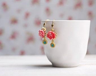 Rose Earrings, Flower Earrings,Flower Dangel Earring,  Rose Earrings, Best Birthday Gifts for Her, mothers day, best gifts