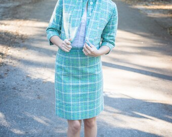 Beautiful Two-Piece Blue and Green Checked Vintage Suit