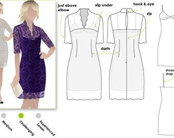 Alisha Dress Print Shop Sewing Pattern (not tiled) - Sizes 12, 14 & 16 - Women's Dress Downloadable PDF Sewing Pattern by Style Arc