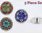 Mandala Jewelry Snaps 3 chunks colorful mandala design handmade - fits standard 16 to 20mm Noosa, Ginger Snaps, Snapit snap jewelry