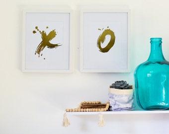 "Set of 2 Gold, Silver or Copper Foil Prints ""XO"" Unframed"