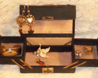 Vintage Leather Jewelry Box Small Jewelry Box Black Leather Jewelry Box