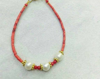 FREE Shipping Worldwide Afghan Natural Coral Tiny Seed Beads Bracelet with Pearls Pendant 7 inches Made for Order Jewelry Handmade