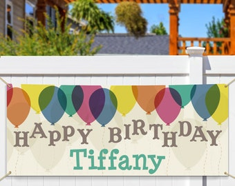 Personalized Birthday Banner, Happy Birthday Banner, Canvas Birthday Banner