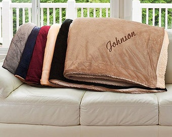 Embroidered Sherpa Blanket, Embroidered Name Blanket, Family Name Sherpa Throw