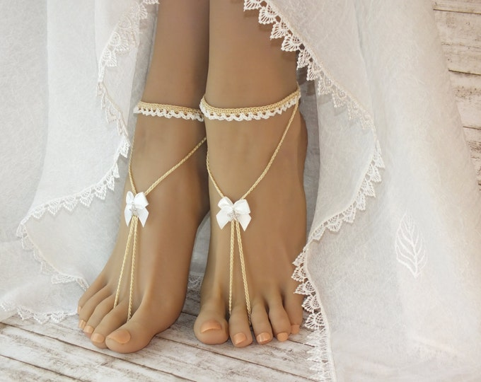 Bridal barefoot sandals, Foot jewelry,Wedding Barefoot Sandals,bridal anklet, nude shoes,barefoot sandals,boho jewelry