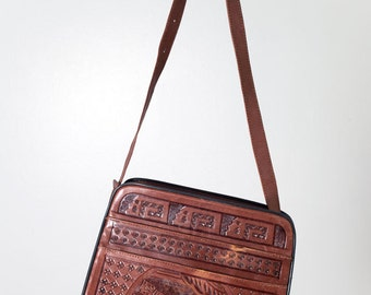 Brown Leather Tooled Purse
