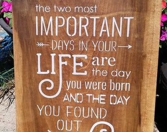 The two most important days of your life, stenciled wood sign, Mark Twain quote