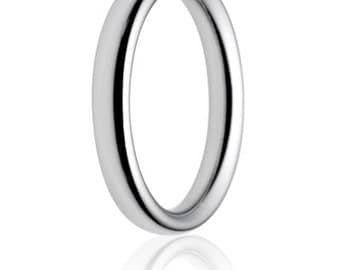 Palladium Court Shaped Handmade Wedding Ring in Medium Weight - Various widths 2mm 2.5mm 3mm 4mm 5mm 6mm 8mm