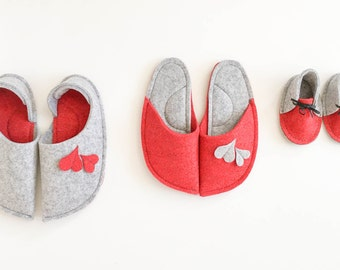 Family pack slippers - Indoor - 3 pack of handmade slippers , Natural wool felt slippers, Red and light grey - Personalized family gift