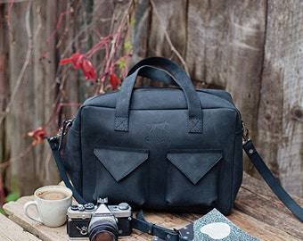 Black laptop bag - leather laptop bag - crossbody laptop bag - laptop bag with zipper - hippster bag - college bag - back to school