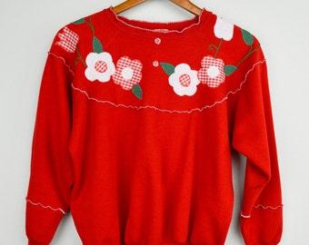 90s Grunge Sweatshirt, 90s Clothing, Vintage Clothing, Thin sweatshirt, Retro, Floral, Red, Spring Sweater, 90s Clothes, Vintage Clothes