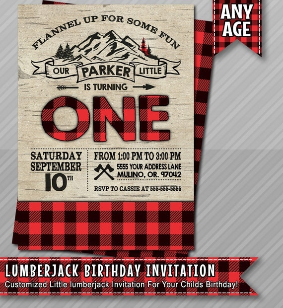 Lumberjack Birthday Invitation Lumberjack Invite by ...