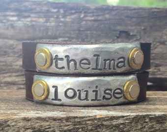 Thelma and Louise Leather Cuff Bracelets Set of 2 Friendship Bracelets with real pistol casings. Can be shipped to two different locations!