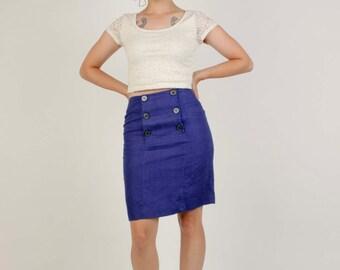 80's Blue High Waisted Pencil Skirt By AnnTaylor/Size 4