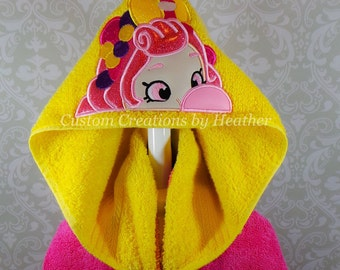 Shopkins Shoppies Bubbleisha Inspired Hooded Towel on High Quality Belk Department Store Towels