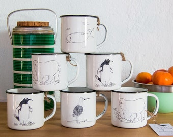 Enamel Mug - Polar Animals - Traditional camping Mug - Retro Picnic - Travel Mug - Coffee - Tea