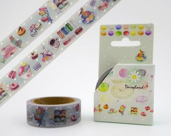 French macaron kawaii 5m washi tape - cute sweets & treats - pastel desserts - Paris cafe - afternoon tea snack - adorable tea party goodies