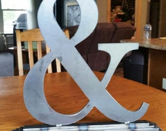 Large Metal Ampersand (And Sign) With Base for Weddings, Anniversaries, Home Decor-CLEARANCE