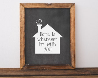 Home is wherever I'm with you printable - Home decor wall art - bedroom wall art- Love print - Home art - home decor -chalkboard home print