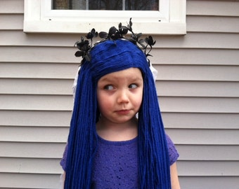 Halloween costume, Costume hair, Custom wigs, Girls Halloween, Womens Halloween, Corpse Bride costume, Zombie bride, Bride wig, Blue wig