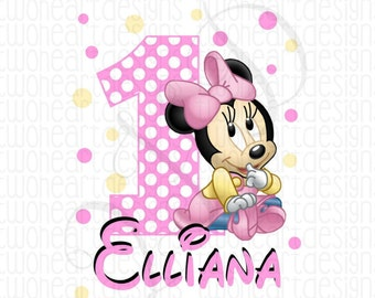 Baby Minnie Name Age Birthday Personalized Iron On - Digital Download - You Print