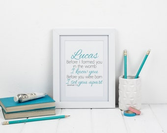 Jeremiah 1:5 Personalised Framed Bible verse print - Christian Gifts - Christian Print - Faith Prints - Gift for new baby