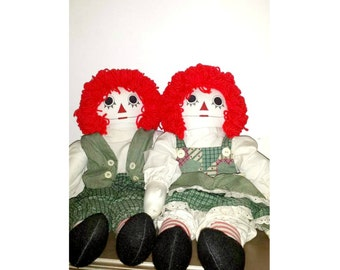 "Vintage Raggedy Ann and Andy Rag Dolls,LARGE, 24"" Tall,Handmade Rag Dolls,Raggedy Ann,Raggedy Andy,OOAK,Raggedy Ann Doll,Vintage,Cloth Doll"