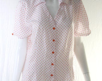 80s polka dot short sleeved blouse