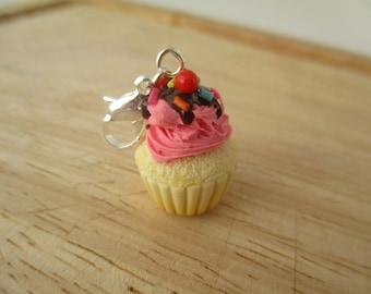Pink Frosted Cupcake Charm, Handmade Polymer Clay Kawaii