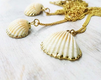 50% OFF Gold Shell Necklace, Shell Jewellery, Shell Pendant, Gold Plated, Gold Electroformed, Beach Jewellry, lalaboho, lala boho.