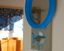 Round mirror. Kid's room mirror. Boy Mirror. Kid Furniture. Shark Art. Shark Mirror. Boys mirror and Hook. Fun mirror. Aquatic mirror. Cool