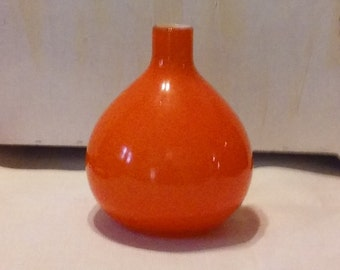 Vintage Empoli Art glass vase, Beautiul, bright orange