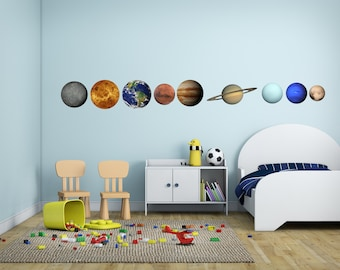 Set of Planets in Our Solar System Vinyl Wall Decal - Set of 9 Planet Decals