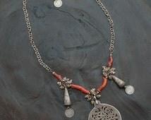 Tunisian Pendant, Antique Coral, Tribal Jewelry, Berber, Mauritanian Zebra Shells, Designer Necklace