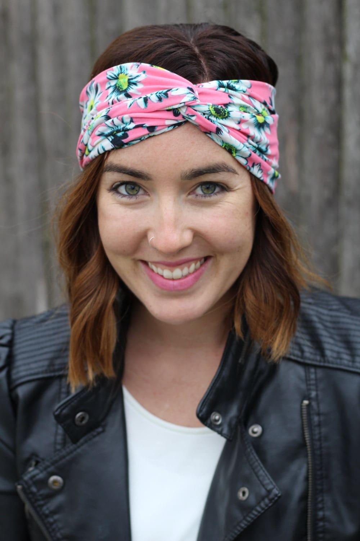 Peach Floral Boho Headband Turban Headband By