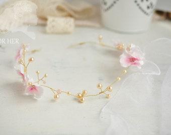 Wedding hair piece Wedding hair crown pink flower crown Bridal hair piece Wedding head piece pearls flower hair accessory Sakura hairstyles